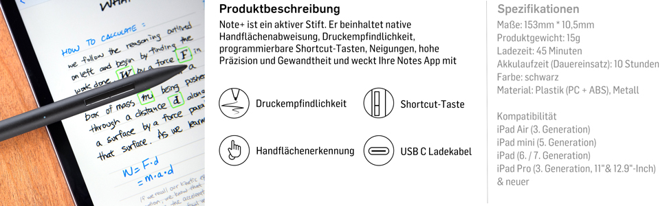 Adonit Note Stylus Druckempfindlicher Eingabestift Schwarz Kompatibel Mit Apple Ipad 9 7 10 2 Ipad Air 2019 Ipad Mini 5 Ipad Pro 11 12 9 Schwarz Adnsb Elektronik