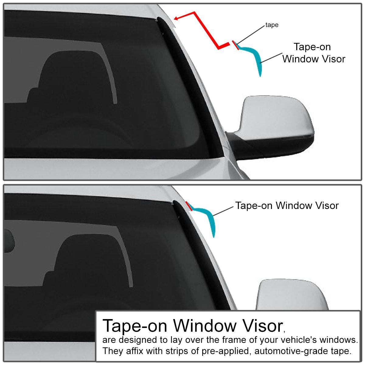 Dark Smoke DNA Motoring DNAMotoring WVS-055 Window Vent Visor Deflector Rain Guard