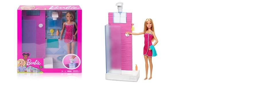 Amazon.es: Barbie Muñeca con muebles de baño y accesorios ...