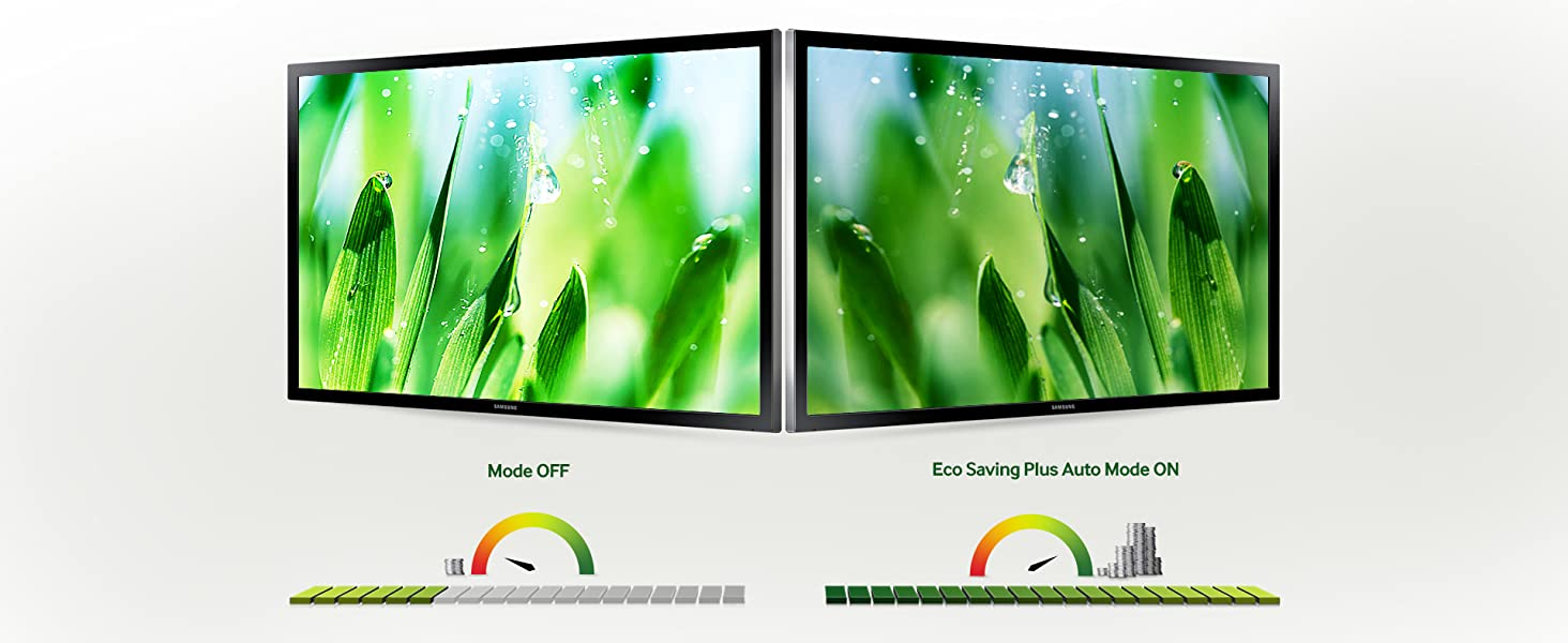 Comparison of a conventional monitor with Samsung with Eco-Saving Plus feature