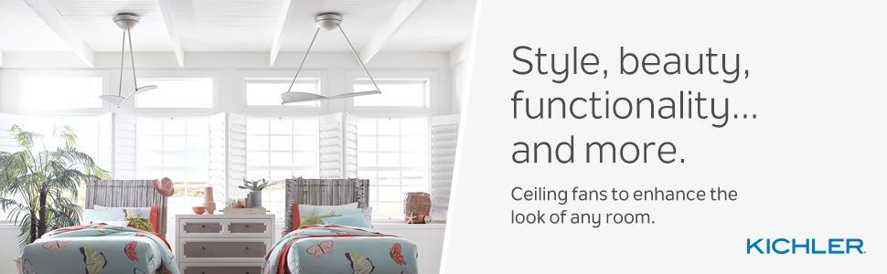 modern ceiling fan, ceiling fan, kichler