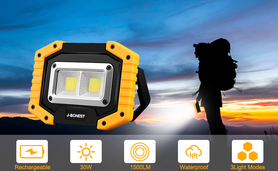 Portable Floodlight with USB Waterproof for Outdoor Hiking 1 Pack DICASAL 30W Rechargeable Floodlight LED Work Light Camping Emergency Security Lights