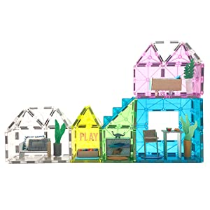 Miniature magnetic tiles home with household decor