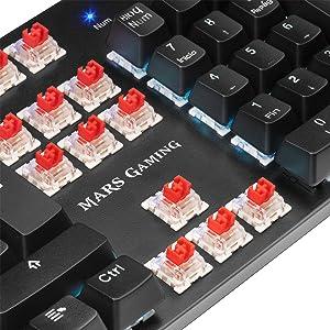 MARSGAMING MK5RES, Teclado Mecánico RGB + Resposamuñecas, Switch Rojo, Español