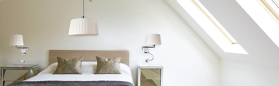 Sulion Aplique para pared, con brazo lector LED, color cromo