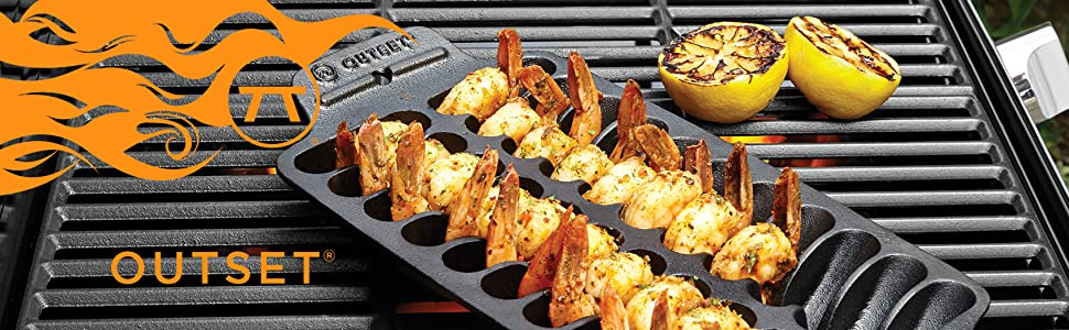 Outset Cast Iron; Pre-seasoned cast iron cookware; grill top cast iron
