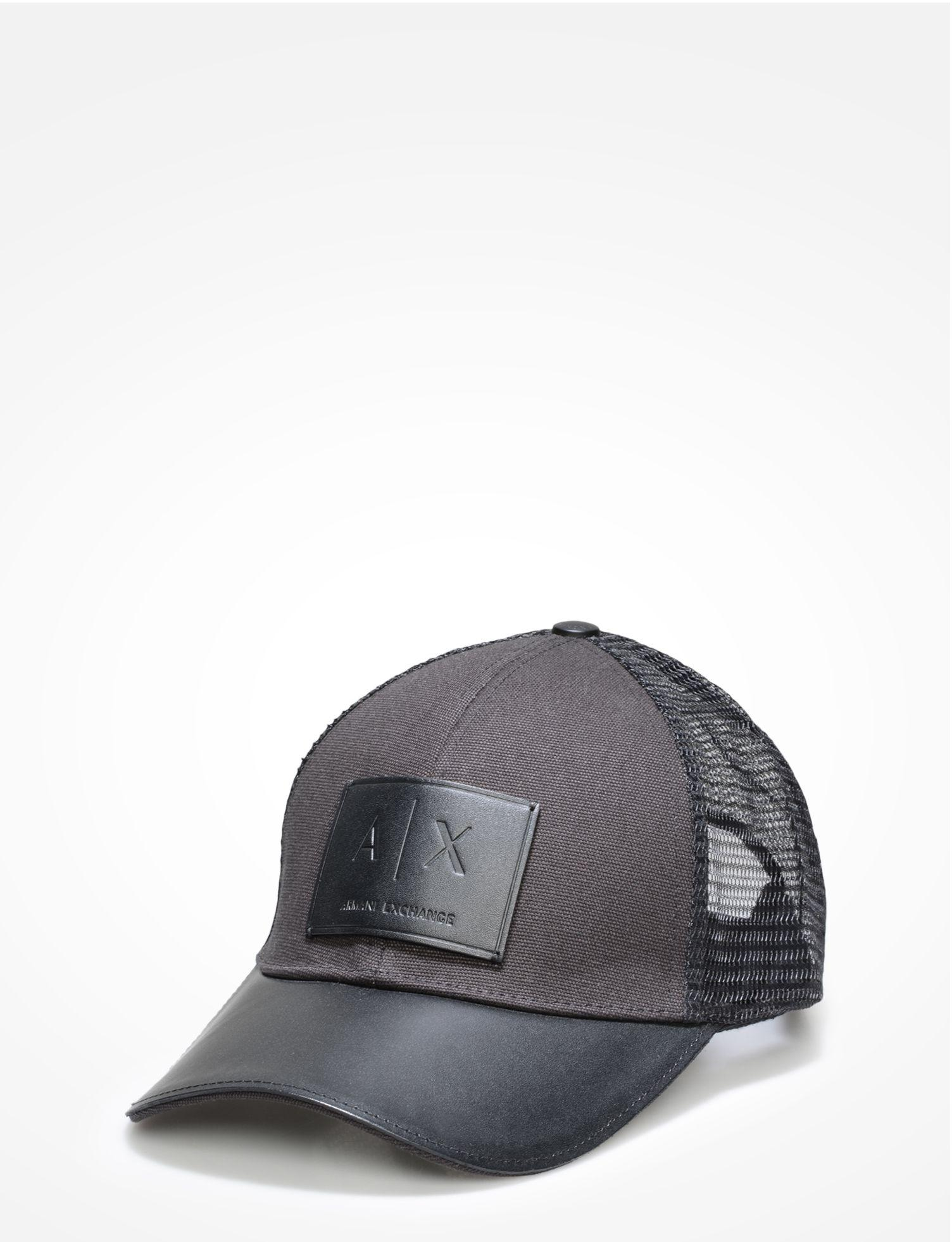 f6d42aa6676 Amazon.com  Armani Exchange Men s Logo Patch Mesh Hat