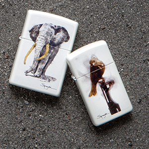 zippo, zippo lighter, white matte, steven spazuk, spazuk lighter, fumage, color image, animal,