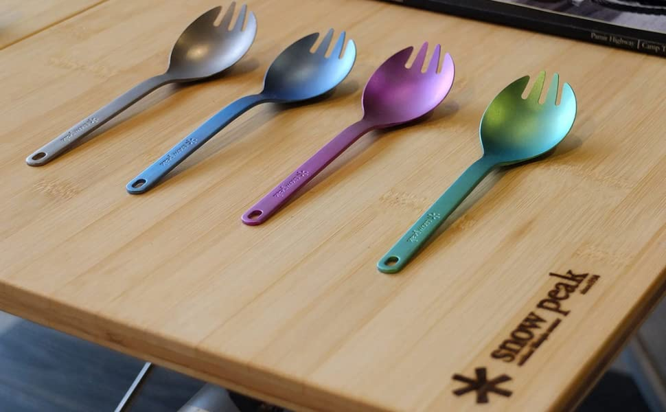 Titanium Spork 2 in 1 Ultralight Spoon and Fork Length 6.5 Weight 0.6oz for Outdoor Camping Picnic