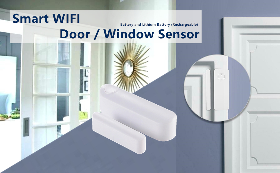 WiFi Smart Door Window Sensor Phone APP Control, Compatible with Alexa Google Assistant, for Home,Office or Store, Rechargeable No hub Required ...