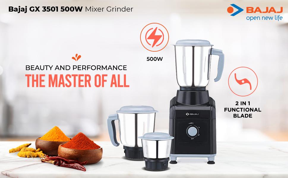 Bajaj GX 3501 500 Watts Mixer Grinder with 3 Jars (Black)- SPN FOR-1