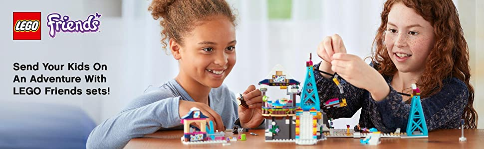 LEGO, building, Interactive play, Friends, Ski lift , Olivia, Mia, Girls, Snow Resort