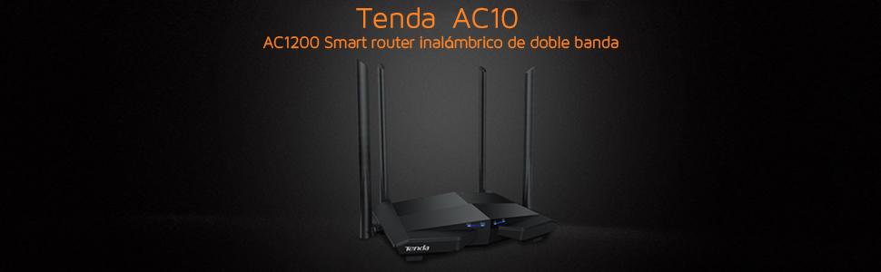 Tenda ac10 router wifi inalámbrico gigabit ac1200 (doble banda 5ghz 867 mbps 2,4 ghz 300 mbps)