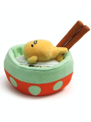 "GUND Sanrio Gudetama the Lazy Egg Noodle Bowl Chopsticks Stuffed Animal Plush, Multicolor, 4.5"""