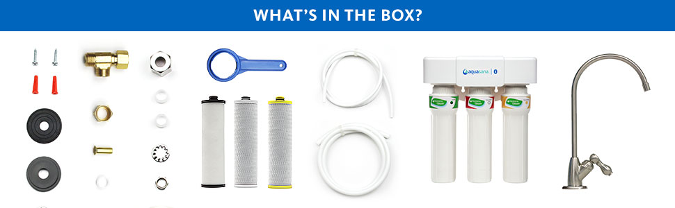 what's in the box undersink brushed nickel faucet filter