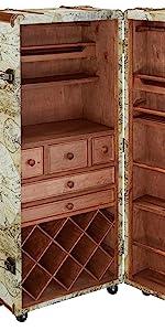 Home decor Wine bar liquor cabinet storage trunk italian style world map globe bar
