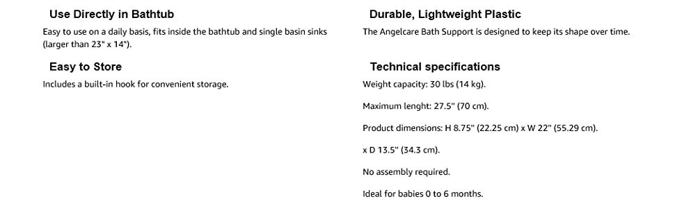 angelcare pink bath supportspecs text