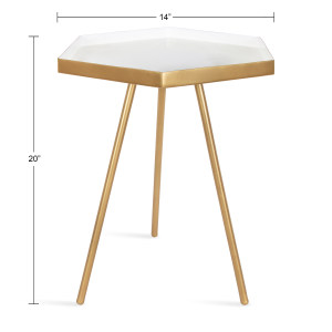electic vintage mid-century chic gold walnut accent table