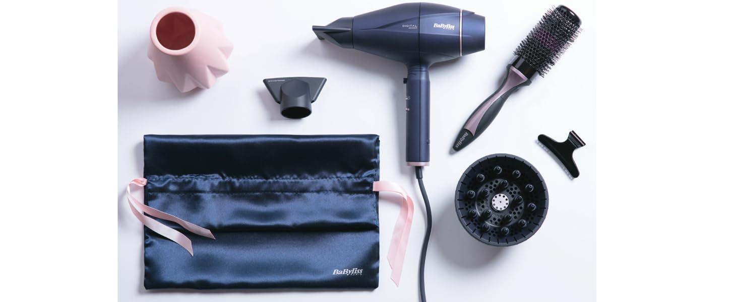 BaByliss 6500ESE - Secador de pelo con sensor digital, ajusta automáticamente la velocidad y temperatura, secado ultra rápido 208 km/h, iónico, ...