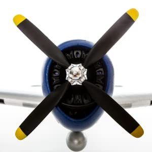 Powerful 15-Size BL Motor with realistic scale 4-Blade Prop and 40A ESC powers this warbird replica