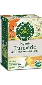 Traditional Medicinals Organic Turmeric with Meadowsweet & Ginger Herbal Tea