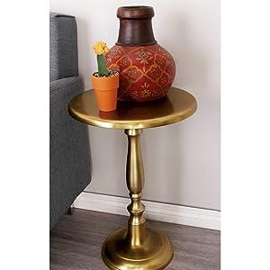 Deco 79 27415 Aluminum Pedestal Table, Gold