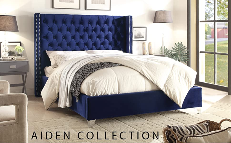 Amazon Com Meridian Furniture Aiden Collection Modern Contemporary Velvet Upholstered Bed With Deep Button Tufting Solid Wood Frame And Custom Chrome Legs King Grey Furniture Decor