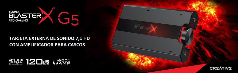 Creative SB1700 - Tarjeta externa de sonido audio 7,1 HD, amplificador para cascos, color Negro
