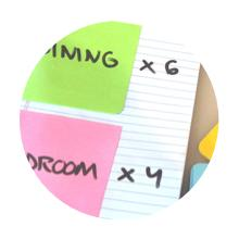 """Two Post-it Notes with categories written on them stuck to a pad of paper with """"x 6"""" and """"x 4."""""""