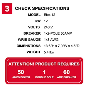 check specifications of thermoflow Elex 12 electirc tankless water heater