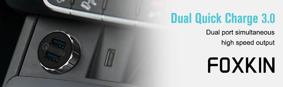 Amazon.com: Cargador de coche de carga rápida 3.0, Foxkin de ...