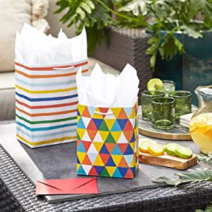 Rainbow striped gift bag, small bag with colorful triangles for birthdays and baby showers