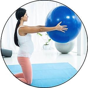 Workout-Ausr/üstung f/ür Frauen 45 cm blau Yoga-Ball Fourseasons Gymnastikball Geburtsball Pilates-Barre Stabilit/ät Balanceball Fitnessball 45-75 cm