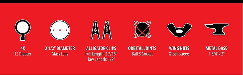 "2 1/2"" lens Metal frame glass lens home repair magnifying glass ball and socket set screws"