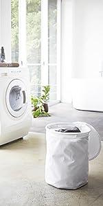 山崎実業 洗濯かご 折り畳み式 ランドリーバスケット 丸型 タワー ホワイト 3287