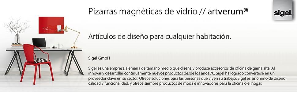 SIGEL GL157 Pizarra de cristal magnética Artverum, negro, 30x30 cm