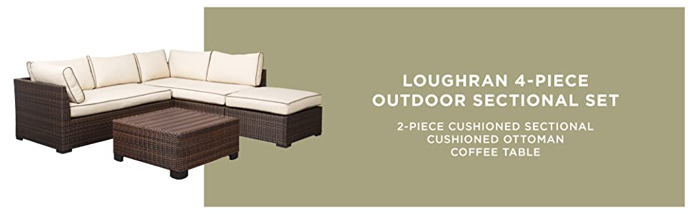 Fine Signature Design By Ashley Loughran Outdoor Sectional Set Loveseat Sectional Ottoman Cocktail Table Beige Brown Gmtry Best Dining Table And Chair Ideas Images Gmtryco