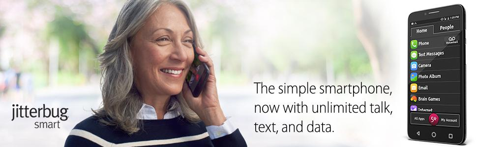"""Jitterbug Smart Easy-to-Use 5 5"""" Smartphone for Seniors by"""