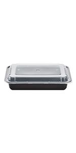Karat 28 oz Black PP Microwavable Rectangular Food Containers amp; Lids