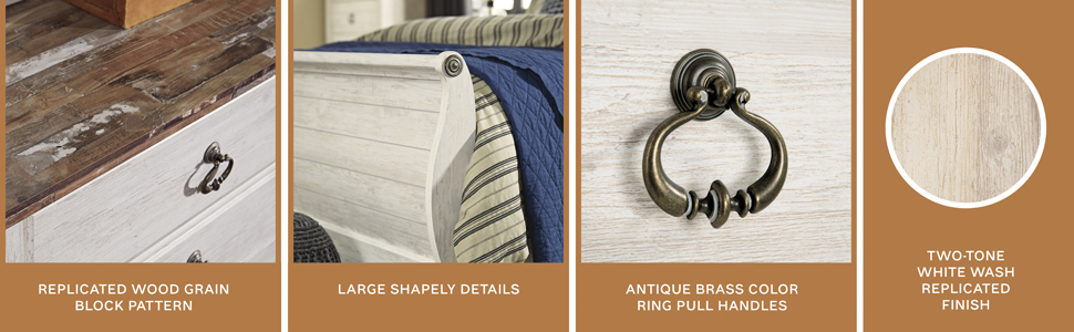 replicated wood grain block pattern two tone detail antique brass color pull handles white wash