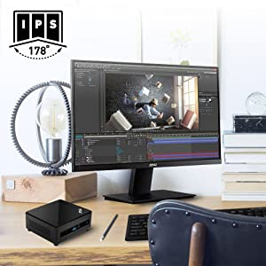 IPS Panel with 178° Wide viewing angle, providing accurate color and vivid display