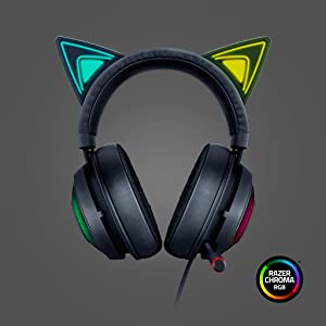 Razer Kraken Kitty Quartz Edition Cat Ears USB Gaming Headset, Chroma Lighting, Wired for Cross Platform Gaming for PC, PS4, Xbox One & Switch, 50mm
