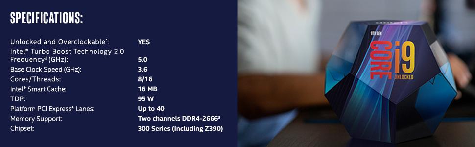Intel Core i9-9900K Retail - (1151/8 Core/3 60GHz/16MB/Coffee  Lake/95W/Graphics)