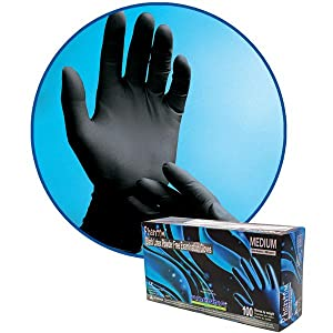 Phantom Latex Black Disposable Gloves 6 mil thick textured tattoo auto law enforcement
