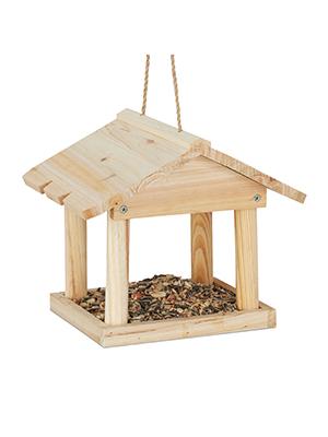 Relaxdays Casita Colgante para pájaros, Comedero de jardín, Madera, Marrón, 22 x 26 x 22 cm: Amazon.es: Juguetes y juegos