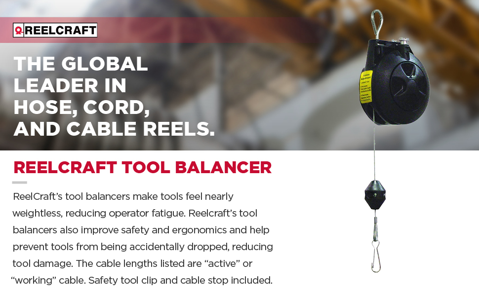 Constant Pull With Cable REELCRAFT TB 15-8ft 10.0~15.0 lbs Tool Balancer