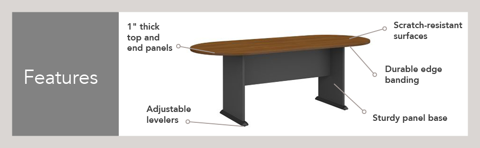 Bush Business Furniture Series A C 79W X 34D Racetrack Oval Conference Table In Hansen Cherry