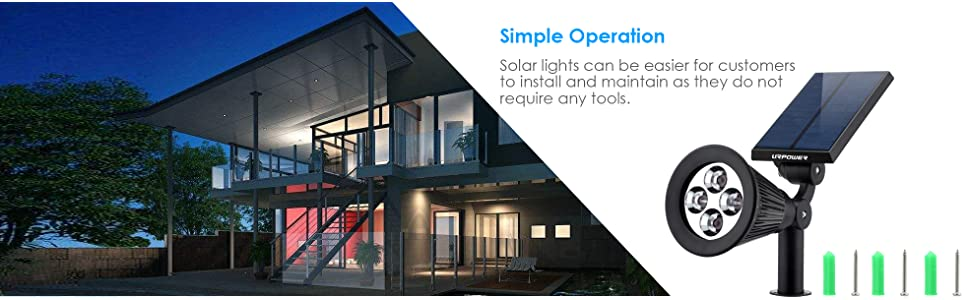 URPOWER Solar Lights, 2-in-1 Waterproof 4 LED Solar Spotlight Adjustable  Wall Light Landscape Light Security Lighting Dark Sensing Auto On/Off for