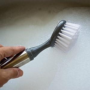 Evriholder, Stainless steel, brush, dishwashing, Sophisti-Clean, Silver w/ Gray Grey