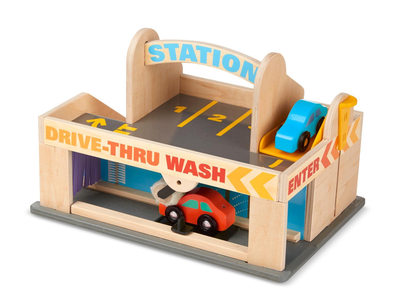 Wooden Toy Trucks For 3 Year Old : Amazon melissa doug service station parking garage